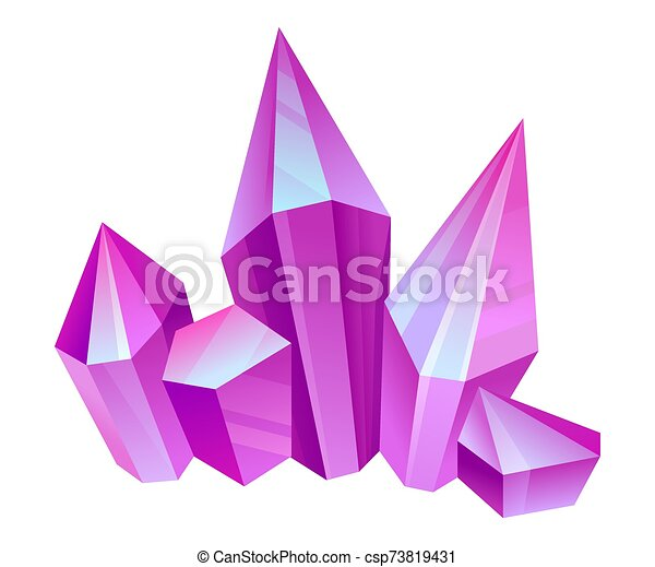 Violet crystals. Vector illustration on a white background. - csp73819431