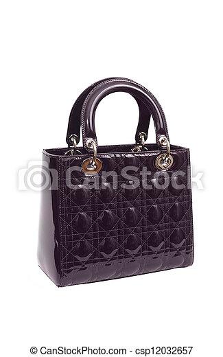 violet luxury female handbag isolated on white background - csp12032657