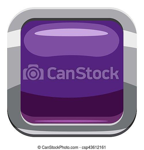 Violet square button icon, cartoon style - csp43612161