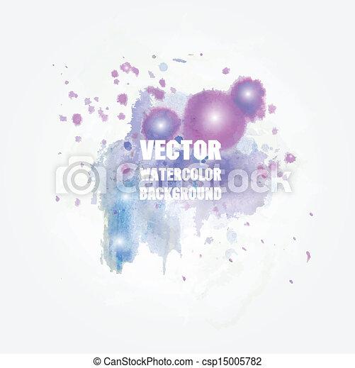 Violet watercolor splash. Vector format for your design - csp15005782