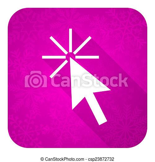 Click aquí, Violet, icono plano, botón de Navidad - csp23872732