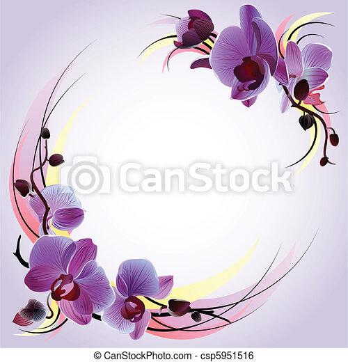 violett, grüßen karte, orchideen - csp5951516
