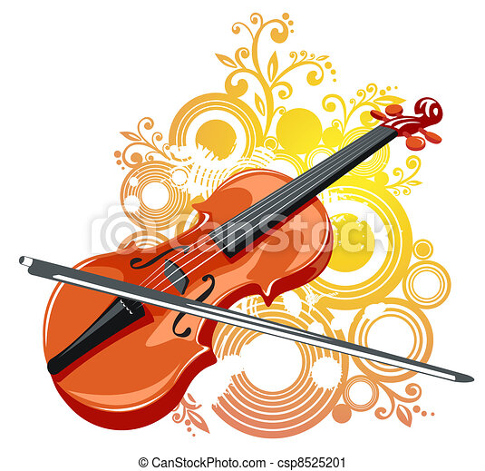 Violin And Abstract Pattern