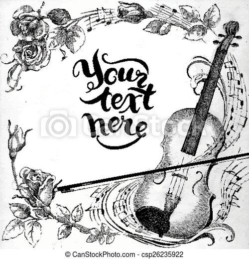 Violin and roses - csp26235922