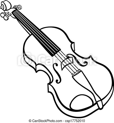 violin cartoon illustration coloring page black and white cartoon rh canstockphoto com clip art violin silhouette clip art violin bow
