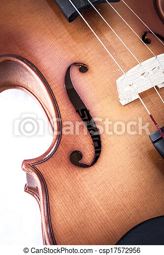 Violin front view isolated on white, vintage - csp17572956