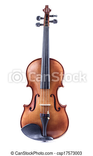 Violin front view isolated on white, vintage - csp17573003