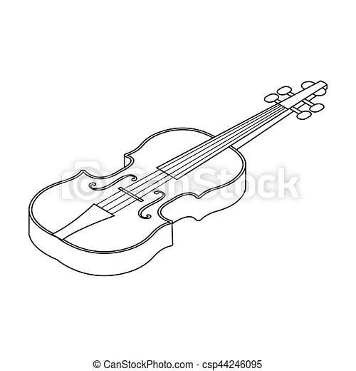 Violin Icon In Outline Style Isolated On White Background Musical