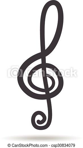 Violin Key Sign Vector Music Symbol Black
