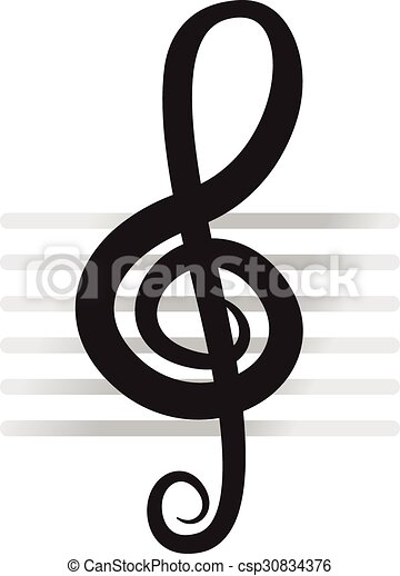 Violin Key Sign Vector Music Symbol Black Vectors Illustration