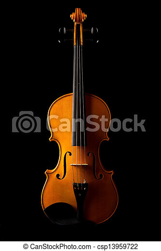 Violin on black background - csp13959722