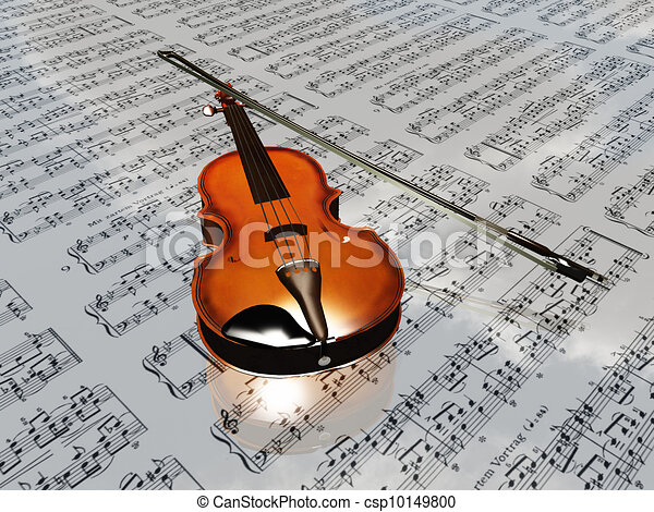 Violin on sheet music backdrop with clouds reflecting - csp10149800