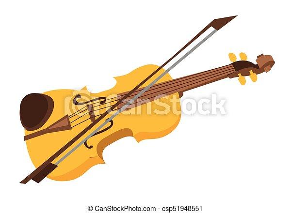 violin with bow vector cartoon illustration. wooden violin