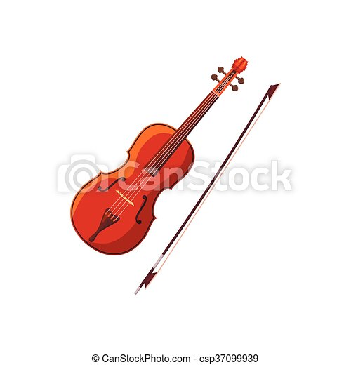 Violin with fiddlestick icon, cartoon style - csp37099939