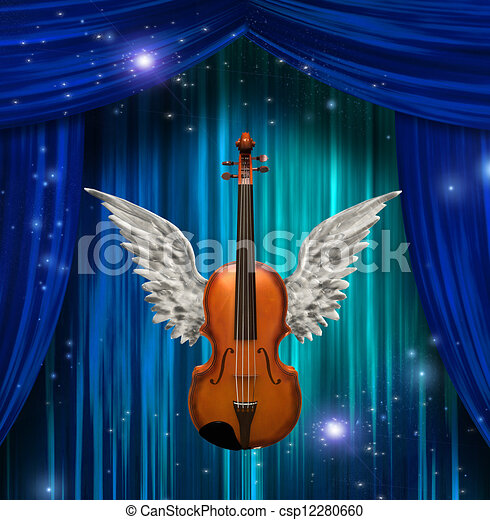 Violin with wings  - csp12280660