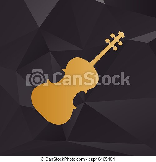 Violine sign illustration. Golden style on background with polygons. - csp40465404