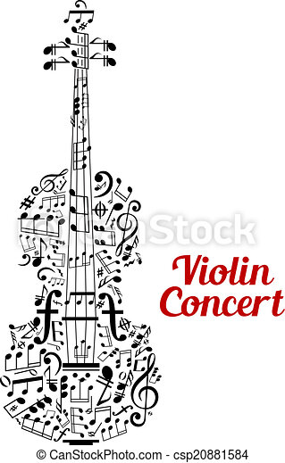 Violino Criativo Desenho Concerto Cartaz Composto Ao Lado