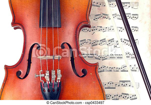 violino, música, close-up, folha, vindima - csp0433497