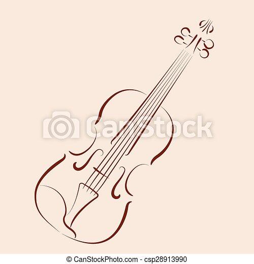 Violino Sketched Desenho Cartao Postal Violin Etiqueta