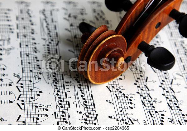 viool, blad, boekrol, muziek - csp2204365