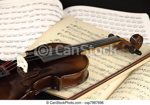 viool, het blad van de muziek - csp7987696