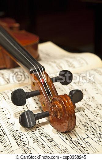 viool, het blad van de muziek - csp3358245