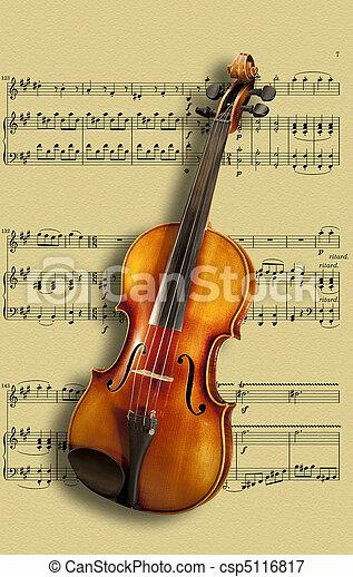 viool, muzieknoten - csp5116817