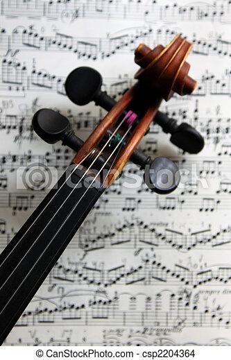 viool, muzieknoten - csp2204364