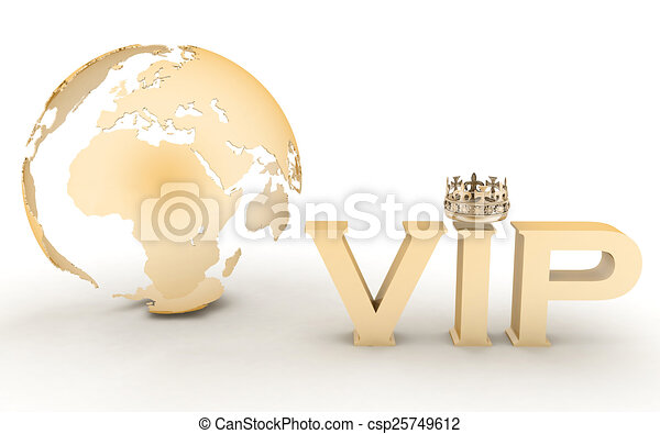 VIP abbreviation with a crown. 3D text on a globe background - csp25749612