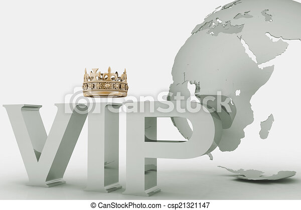 VIP abbreviation with a crown. 3D text on a globe background - csp21321147