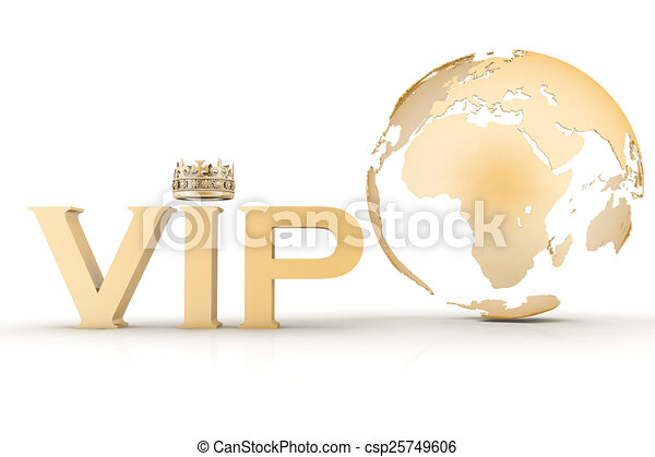 VIP abbreviation with a crown. 3D text on a globe background - csp25749606