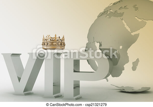 VIP abbreviation with a crown. 3D text on a globe background - csp21321279