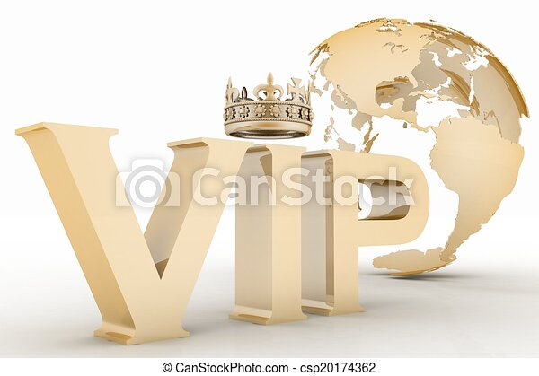 VIP abbreviation with a crown on globe background - csp20174362