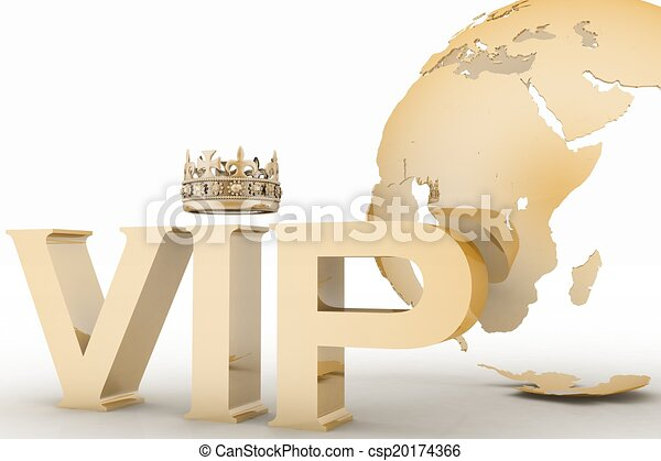 VIP abbreviation with a crown on globe background - csp20174366