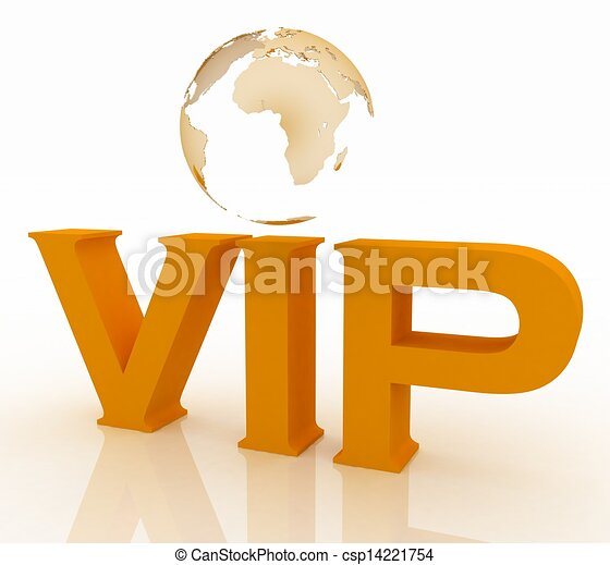 VIP abbreviation with a globe. 3D text on a white background - csp14221754