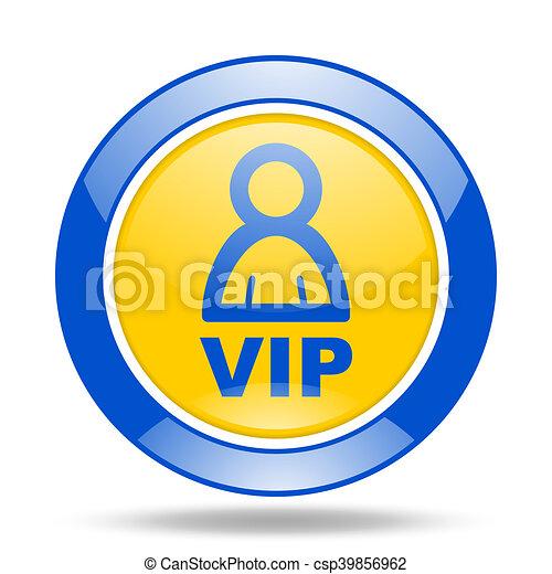 vip blue and yellow web glossy round icon - csp39856962