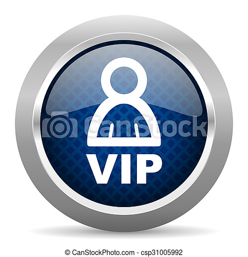vip blue circle glossy web icon on white background, round button for internet and mobile app - csp31005992
