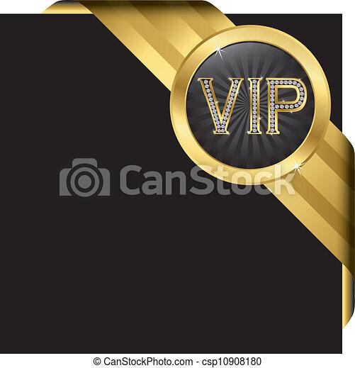 vip, diamants, doré, étiquette - csp10908180