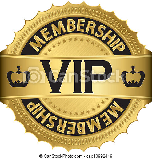 Vip golden label with ribbon, vecto - csp10992419