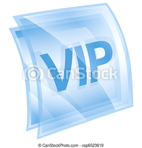 VIP icon blue, isolated on white background. - csp6523619