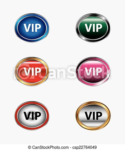 VIP icon button isolated set - csp22764049
