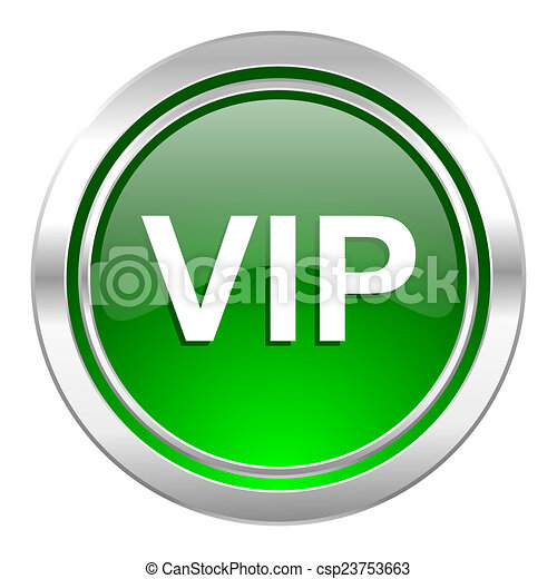 vip icon, green button - csp23753663