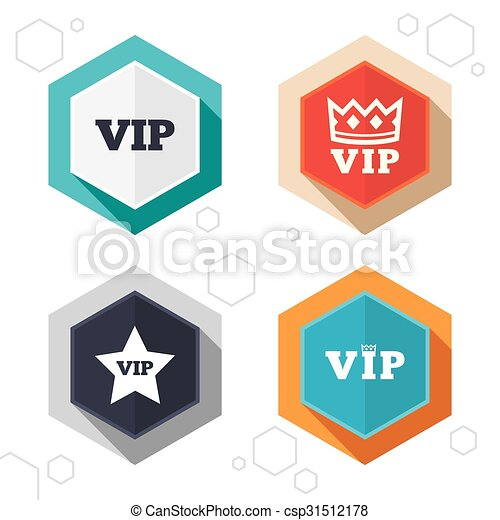 Hexagon Buttons Vip Icons Very Important Person Symbols King