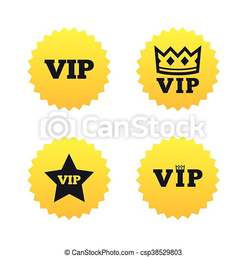 Vip Icons Very Important Person Symbols King Crown And Star Signs