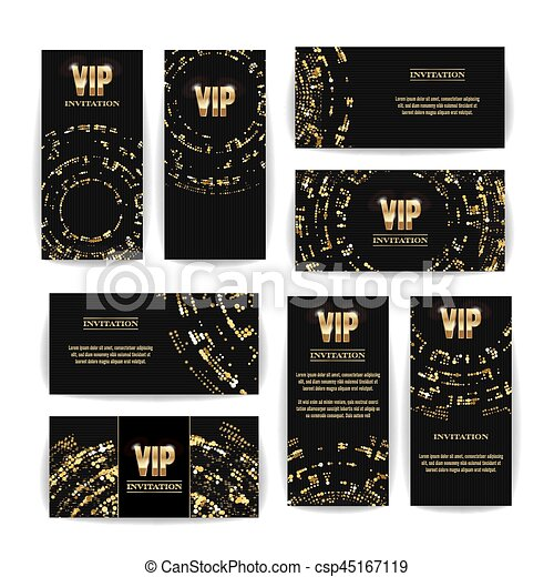 Vip invitation card vector set party premium blank poster flyer vip invitation card vector set party premium blank poster flyer black golden design template stopboris Choice Image