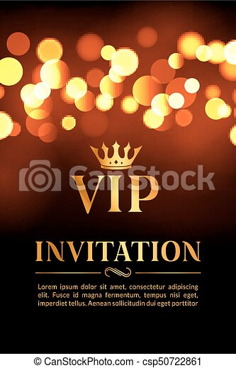 Vip invitation card with gold and bokeh glowing background clip vip invitation card with gold and bokeh glowing background premium luxury elegant design csp50722861 stopboris Gallery