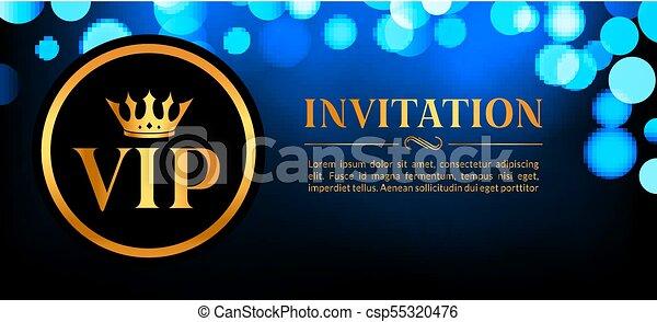 Vip invitation card with gold and bokeh glowing background premium vip invitation card with gold and bokeh glowing background premium luxury elegant design stopboris Gallery