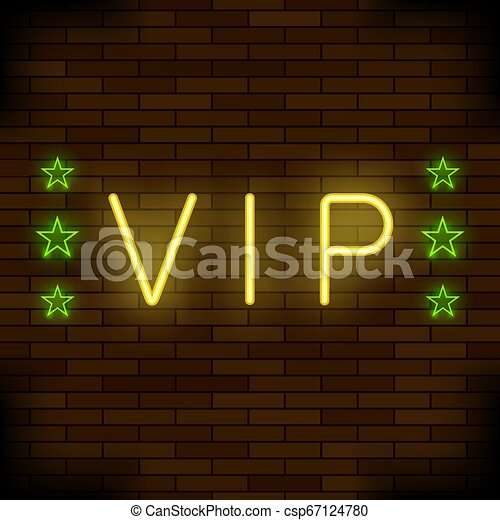 VIP Logo Neon Colorful Sign. Night City Banner - csp67124780