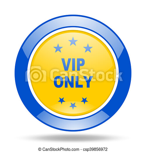 vip only blue and yellow web glossy round icon - csp39856972