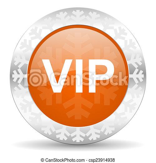 vip orange icon, christmas button - csp23914938